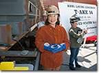 On May 10, 2011, Mrs. Min Kaskin welded her initials into the keel to signify the start of erection of the Cesar Chavez, T-AKE 14.